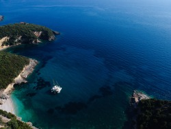 Perdika aerial photo of the exotic tropical beach mega Drafi between nearby areas of sivota mikri ammos, mega ammos beach and agia parskevi beach  in thesprotia epirus greece near parga and preveza