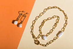 Perfect accessories. Trendy jewelry set. Fashion jewelry and bijouterie. Top view.