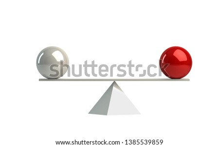 Perfect balance - two even spheres 3d rendering