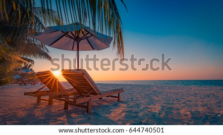 Perfect beach sunbeam, sunlight. Sunny beach for summer holiday and vacation concept. Tropical beach, palm trees twilight sky. Tranquil scenery, relaxing, tropical landscape design. Moody landscape #644740501