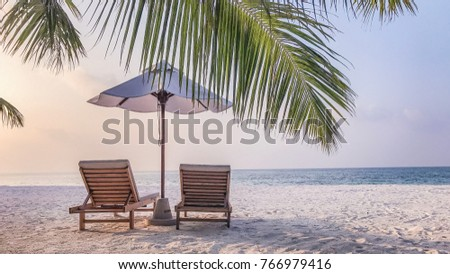 Perfect beach view use for banner or background. Summer holiday and vacation design. Inspirational and tranquil scenery with palm trees and calming colors. #766979416