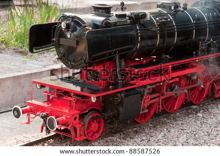 perfect black and red model steam locomotive