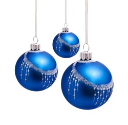 Perfect blue christmas balls isolated on white background