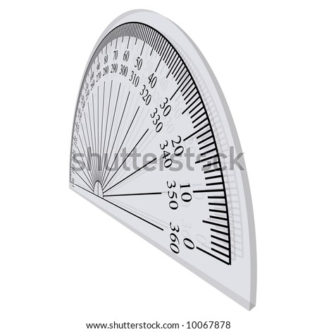 Perfect closeup of a protractor isolated on white