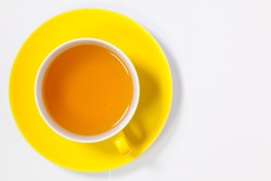 Perfect cup of tea on white wooden table  - Flat lay image