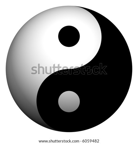 Perfect 3d ying-yang symbol isolated on white - stock photo