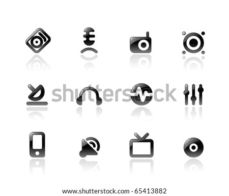 Perfect designer icons for media and sound. Raster version. For vector version of this image, see my portfolio.