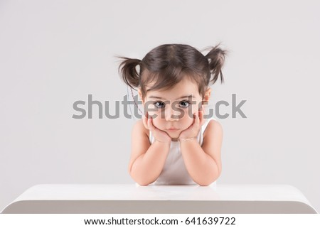 Perfect eyes, the cutest little child girl with hard to find pure and innocent expression #641639722