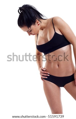 Perfect female body isolated on white. Healthy eating and sport concept