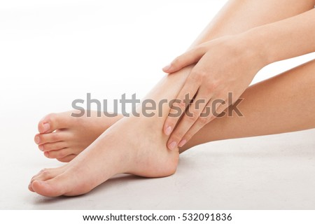 Perfect female legs, isolated on white background.