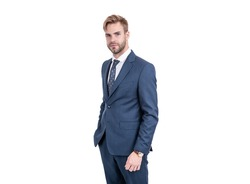Perfect for office and special occasions. Handsome guy in suit isolated on white. Formal wear. Classy style. Fashion style. Formalwear. Trendy menswear. Suit for busy man. Classical navy.