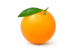 Perfect fresh Orange fruit with green leaf  isolated on white background. Clippin path.