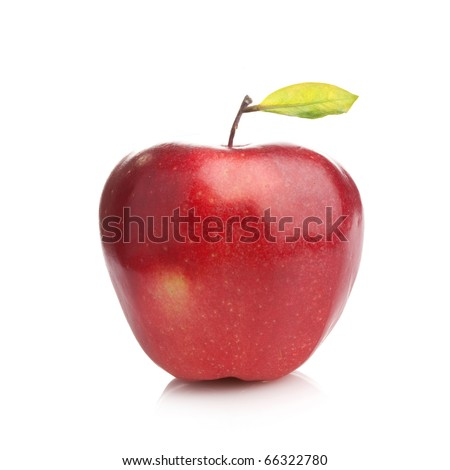 Perfect fresh red apple with green leaf  on white background