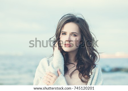 Stock Photo Perfect Girl with Long Wavy Hair. Beautiful Model Woman, Vintage Boho Style