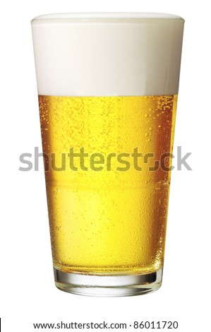 Perfect glass of beer with clipping path