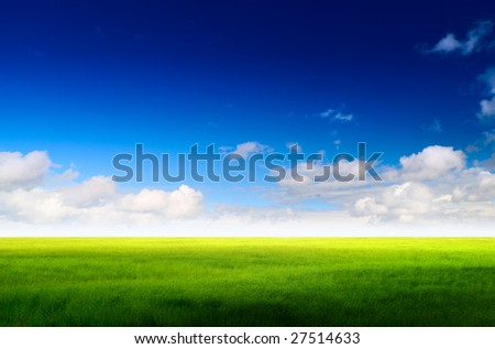 perfect green field and sky