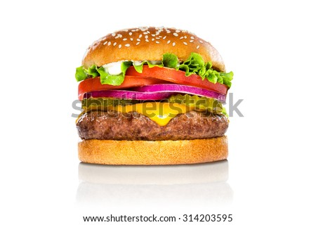Perfect hamburger classic burger american cheeseburger isolated on white reflection
