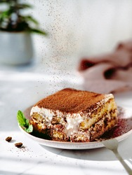 Perfect homemade tiramisu cake sprinkled with cocoa powder. Tiramisu portion on plate over white marble tabletop with green plant in pot on background. Delicious no bake tiramisu in natural daylight