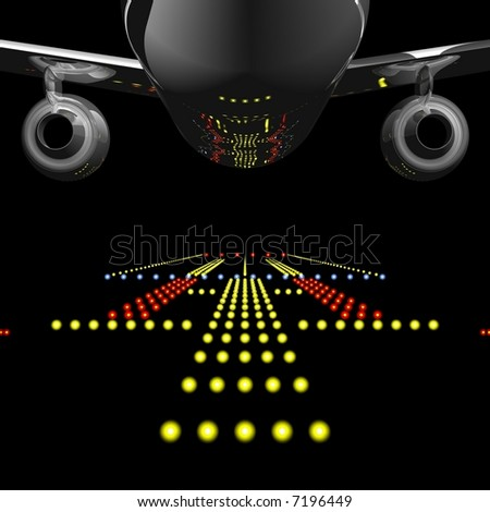 Perfect jet airliner reflecting the runway lights in it's fuselage