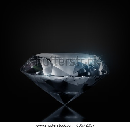 Perfect large diamond on a black background. Isolated