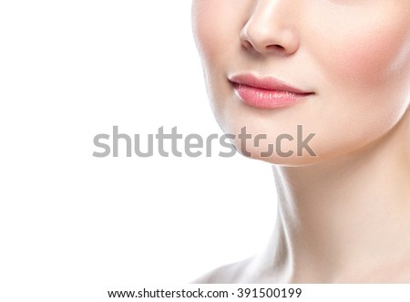 Perfect Lips.Neck chin cheeks. Sexy Girl Mouth close up. Beauty young woman Smile. Natural plump full Lip. Lips augmentation. Close up detail