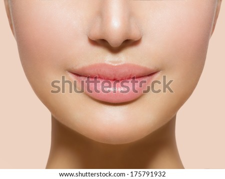 Perfect Lips. Sexy Girl Mouth close up. Beauty young woman Smile. Natural plump full  Lip. Lips augmentation. Close up detail #175791932