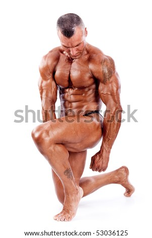perfect muscle man isolated on white