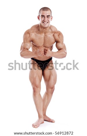 perfect muscle man isolated on white background