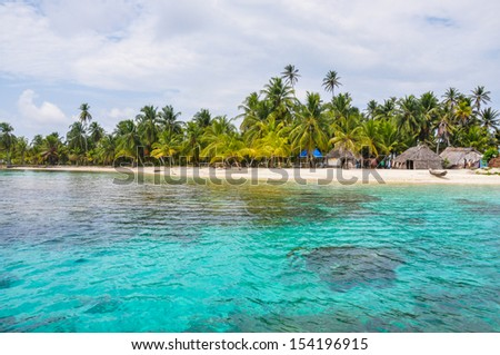 Perfect native caribbean village on crystal clear island San Blas Panama Central America Latin American Culture