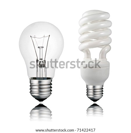 Perfect Normal and Saver Lightbulb with Reflection Isolated on White Background