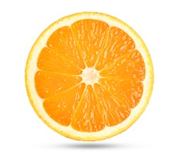 Perfect orange slice on white. This file is cleaned, retouched and contains clipping path.