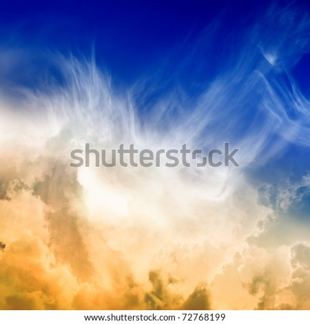 Perfect peaceful view - blue sky, orange clouds