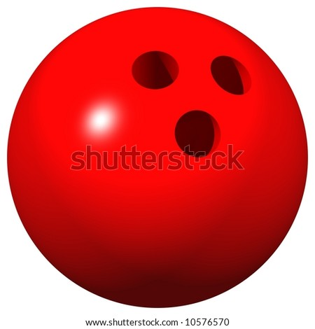 Perfect 10 pin bowling ball isolated on white