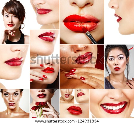 Perfect red female lips set. Beautiful asian, african and caucasian women with red lipstick.