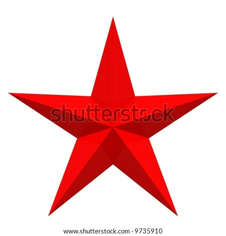 Perfect red star isolated on white
