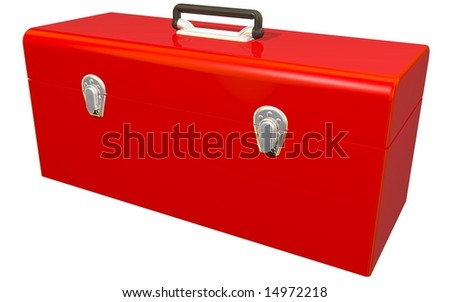 Perfect red toolbox isolated on white