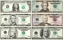 Perfect reference for designers! Every denomination of U.S. currency in one image. Contains true macro close-up's, better than 1:1 magnification at 300 DPI. Each bill has it's own clipping path.