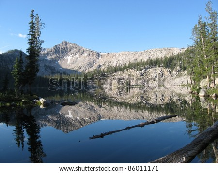Perfect reflection on Edna Lake in the Sawtooth Wilderness in Idaho