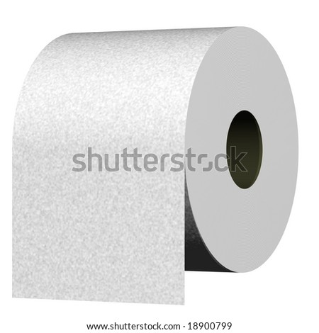Perfect roll of toilet paper isolated on white