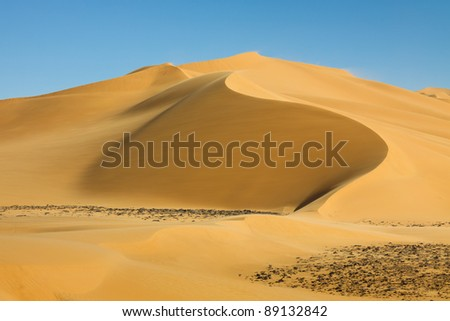 Perfect sand dune at Erg Tamesset in the Sahara Desert, Libya