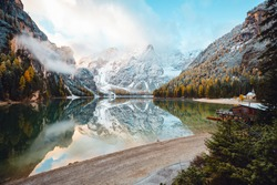 Perfect scenery of famous alpine lake Braies (Pragser Wildsee). Location Dolomiti Alps, national park Fanes-Sennes-Braies, Italy, Europe. Scenic image of Italian Alps. Discover the beauty of earth.