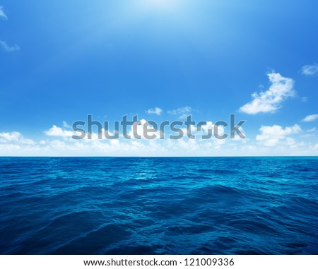 perfect sky and water of indian ocean - stock photo