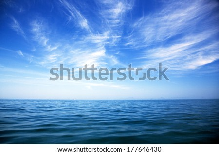 perfect sky and water of ocean  #177646430