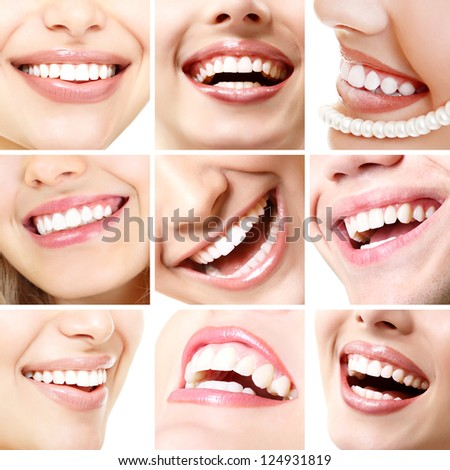 Perfect smiles. Collection of beautiful wide human smile with great healthy white teeth. Set isolated over white background