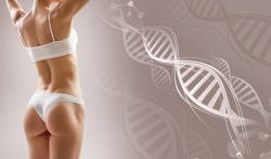 Perfect sporty female body near DNA stems. Over beige background. Good metabolism concept.