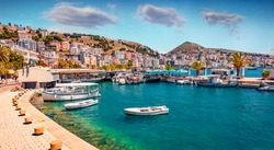 Perfect spring cityscape of Saranda port. Picturesque Ioninian seascape. Bright morning scene of Albania, Europe. Traveling concept background.