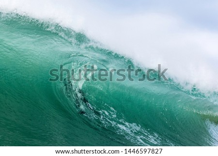 Perfect Surf; a perfect powerful surfing wave breaking on the east coast of New Zealand. The type of wave surfers are always looking for