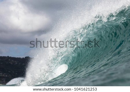 perfect surf; a super fun wave breaking at Piha Beach on Auckland's west coast in New Zealand  #1041621253