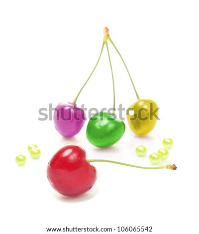 perfect sweet colorful toned cherries on a white background