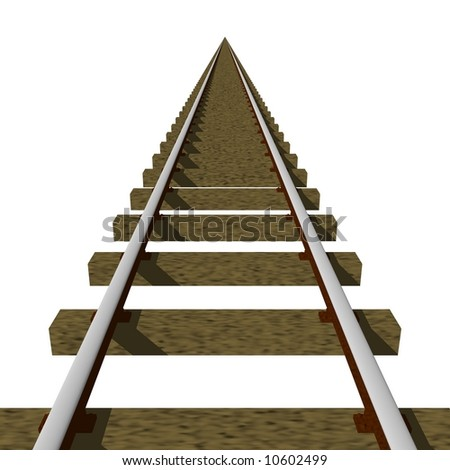 Perfect train tracks isolated on white
